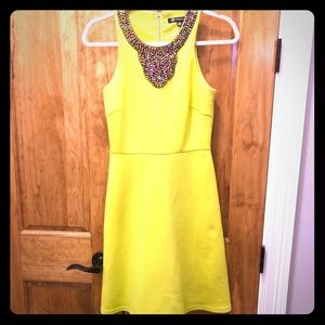 Neon Green Shift Dress with Beaded Appliqué